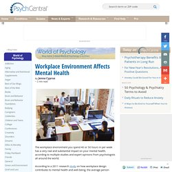 Workplace Environment Affects Mental Health