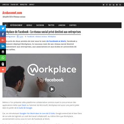 Workplace de Facebook : Le réseau social privé destiné aux entreprises