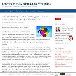 The Modern Workplace Learning Landscape: it's more than telling people what to learn