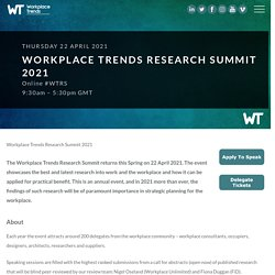Workplace Trends Research Summit 2021 - 22 April 2021 9:30am – 5:30pm GMT