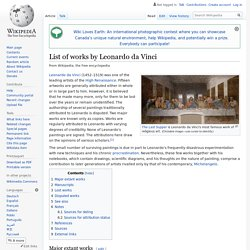 List of works by Leonardo da Vinci - Wikipedia