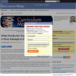 What Works for Teacher Math Coaching? A First Attempt to Find Out