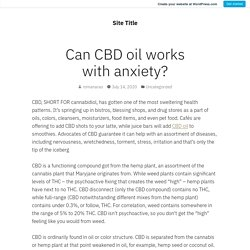 Can CBD oil works with anxiety? – Site Title