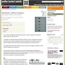 Worksheet - QCM et Vrai/Faux