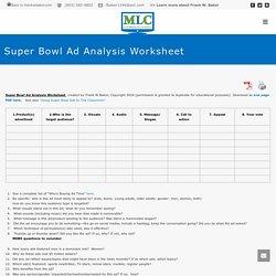 Super Bowl Ad Analysis Worksheet - Media Literacy Clearinghouse