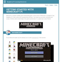 Worksheet - Getting Started with Minecraft Pi