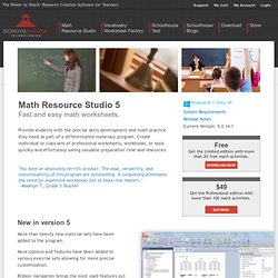 Math Worksheet Maker for Teachers | Math Resource Studio