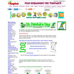 Free St. Patrick's Day worksheets to download and print, word searches, St. Patrick's Day flashcards, St. Patrick's Day bingo, coloring, games, and more