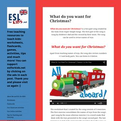 What do you want for Christmas? - Free teaching resources to teach kids: worksheets, flashcards, games, activities, tips and much more! You can support eslforkids.net by clicking on the ads in each post. Thank you and please visit us again :)