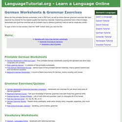Free German Worksheets & Grammar Exercises