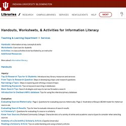 Handouts, Worksheets, & Activities for Information Literacy