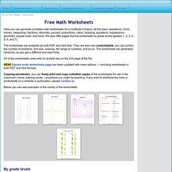 Free Math Worksheets: generate math worksheets for basic operations, fractions, decimals, measuring, clock, percents, number charts, square roots, and factoring