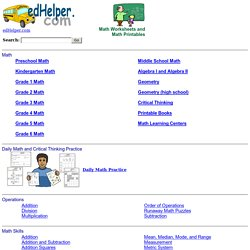 Math Worksheets, Puzzles, Printables, Problems, Test Prep