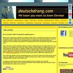 Free German Video Worksheets and Resources