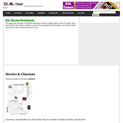 ESL Movies Worksheets English vocabulary, printable worksheets