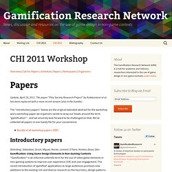 CHI 2011 Workshop | Gamification Research Network