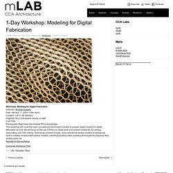 1-Day Workshop: Modeling for Digital Fabrication – mlab