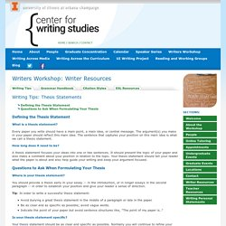 Writing Tips « Writers Workshop: Writer Resources « The Center for Writing Studies, Illinois