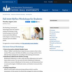 Fall 2020 HyFlex Workshops for Students - Seton Hall University