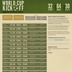 World Cup KickOff - All the match details for World Cup 2006 in