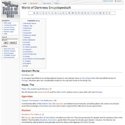 World of Darkness Encyclopedia/A