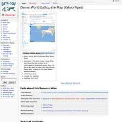 Demo: World Eathquake Map (Yahoo Pipes) - Data-gov Wiki