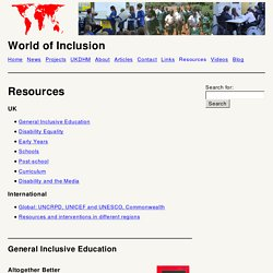 World of Inclusion – Resources