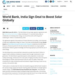 World Bank, India Sign Deal to Boost Solar Globally