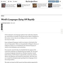 World's Languages Dying Off Rapidly