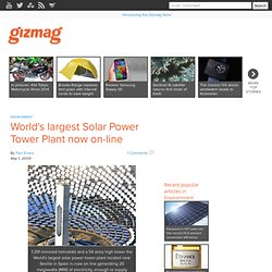World's largest Solar Power Tower Plant now on-line