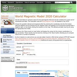 World Magnetic Model Calculator