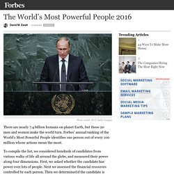 The World's Most Powerful People 2016