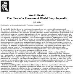 World Brain: The Idea of a Permanent World Encyclopaedia