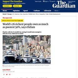 World's 26 richest people own as much as poorest 50%, says Oxfam