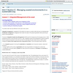 Worldlywise Wiki / Unit 1 Section C - Managing coastal environments in a sustainable way