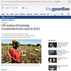 UN warns of looming worldwide food crisis in 2013