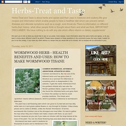 Herbs-Treat and Taste: WORMWOOD HERB - HEALTH BENEFITS AND USES: HOW TO MAKE WORMWOOD TISANE