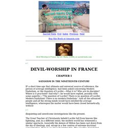 Devil Worship in France: Chapter I. Satanism in the Nineteenth Century