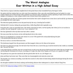 The Worst Analogies Ever Written in a High School Essay