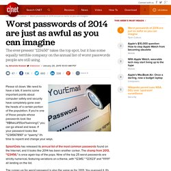 Worst passwords of 2014 are just as awful as you can imagine - CNET