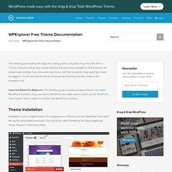 WPExplorer Free Theme Documentation