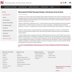 Wprowadzenie Polityki Otwartego Dostępu w Narodowym Centrum Nauki