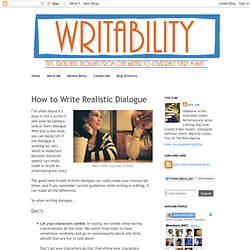 Writability: How to Write Realistic Dialogue
