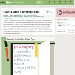How to Write a Briefing Paper (with Sample Briefs)