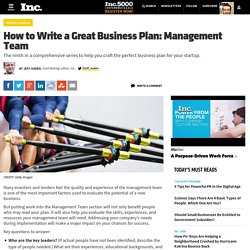 How to Write a Great Business Plan: Management Team
