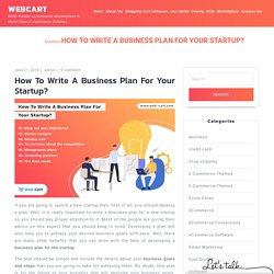 How To Write A Business Plan For Your Startup? - WebCart