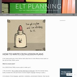How to write CELTA lesson plans