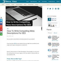 How to Write Compelling Meta Descriptions for SEO