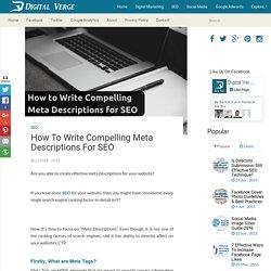 How to Write Compelling Meta Descriptions for SEO