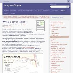 Write a cover letter ! - Langues@Lyon